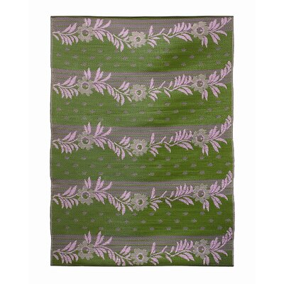 Koko Company Vines Claret Purple / Green Outdoor Rug
