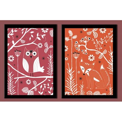 Fox and Owl Duo Framed Graphic Art