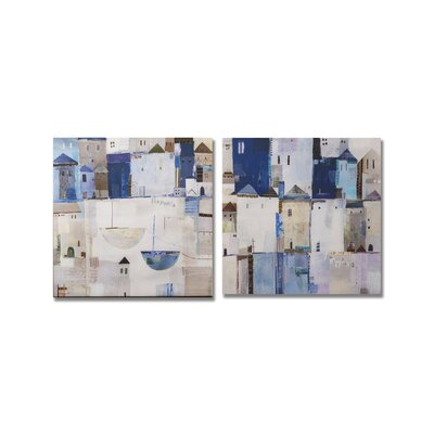 Graham & Brown Gallery Beach Town 2 Piece Original Painting on Canvas Set