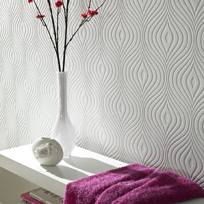 Graham & Brown Paintable Curvy Wallpaper in White