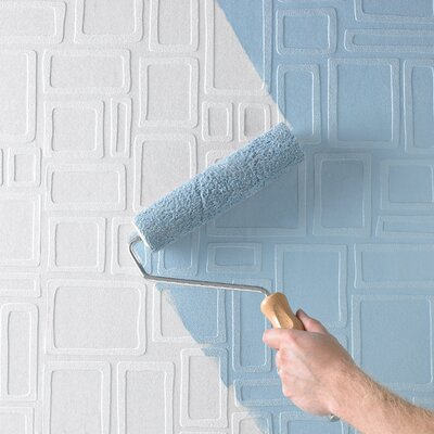 Graham & Brown Paintable Squares Wallpaper in White
