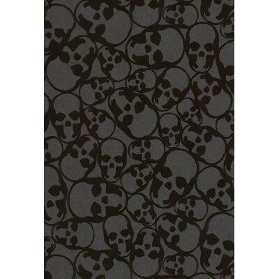 Graham & Brown Barbara Hulanicki Flock Skulls Wallpaper in Black