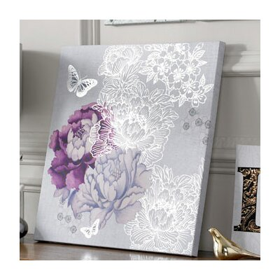 Floral Metallic Graphic Art on Canvas