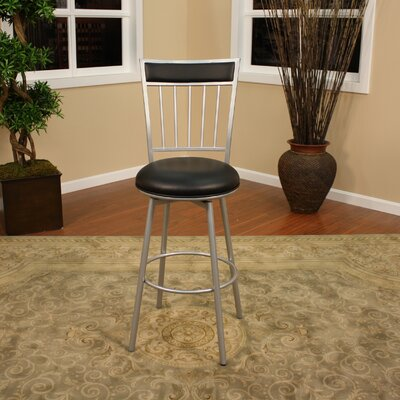 American Heritage Alliance Stool in Silver with Black Vinyl