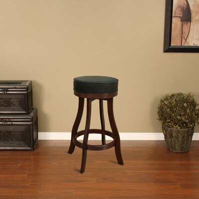American Heritage Designer Stool in English Tudor with Black Leatherette