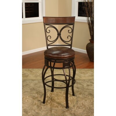 American Heritage Treviso Stool in Pepper with Bourbon Leather