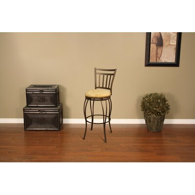 American Heritage Folio Stool in Topaz with Camel Microfiber
