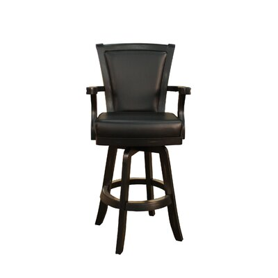 Auburn Stool in Peppercorn with Black Leather