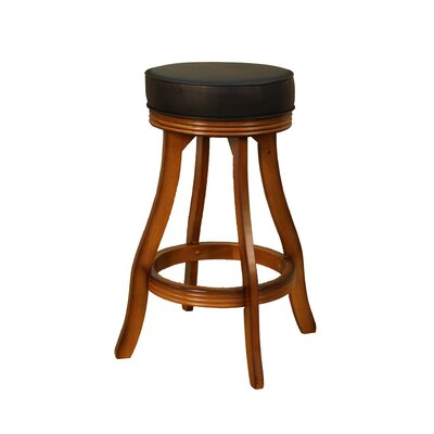 Designer Stool in Vintage Oak with Black Leatherette