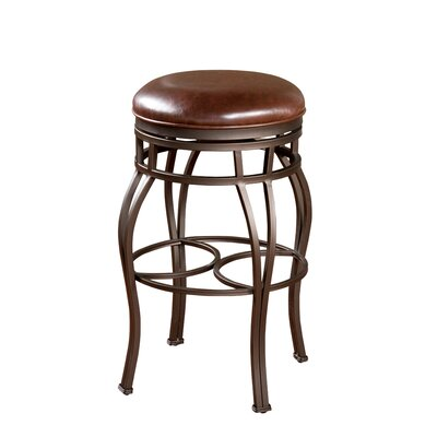 Bella Backless Stool in Pepper with Bourbon Leather