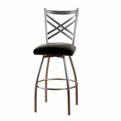 American Heritage Alexander Stool in Silver with Black Leather
