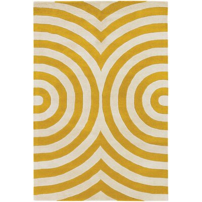 Tufted Pile Yellow Geometric Rug