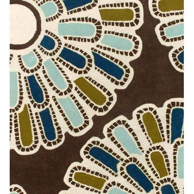 Thomas Paul Tufted Pile Chocolate/Aqua Flora Rug