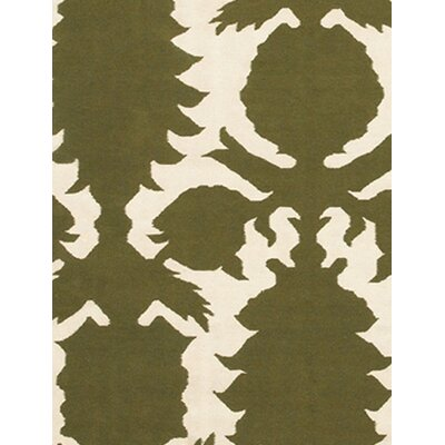 Thomas Paul Flat-weave Dhurrie Green/Cream Flock Rug