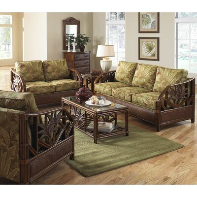 Cancun Palm Upholstered Rattan 5 Piece Deep Seating Group