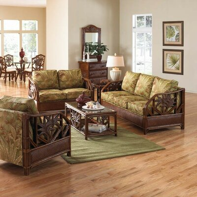 Hospitality Rattan Cancun Palm Upholstered Rattan 5 Piece Deep Seating Group
