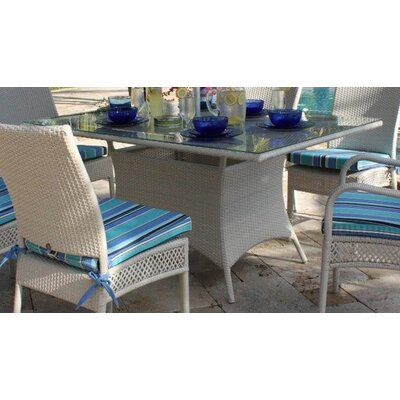 Hospitality Rattan Grenada Patio Rectangular Glass Dining Table