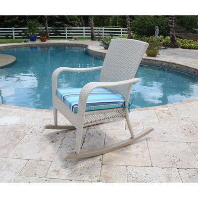 Hospitality Rattan Grenada Patio Rocking Chair in White Wash
