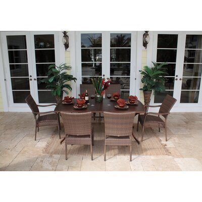 Hospitality Rattan Grenada Patio 7 Piece Slatted Dining Set