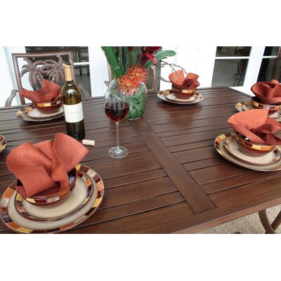 Hospitality Rattan Outdoor Slatted Aluminum Square Dining Table