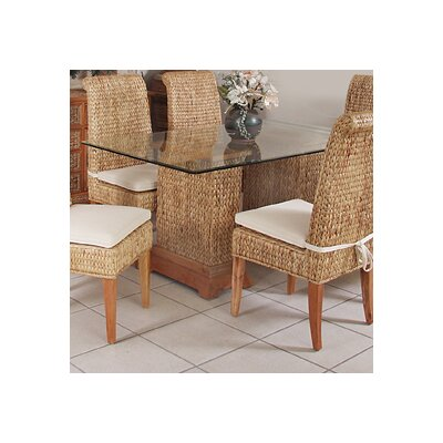 Sea Breeze Seagrass Rectangular Pedestal Dining Table