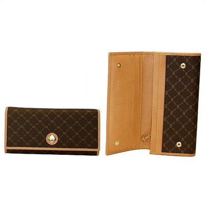 Rioni Signature Top Fold Wallet in Brown