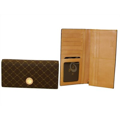 Rioni Signature Half-Fold Slim Wallet in Brown