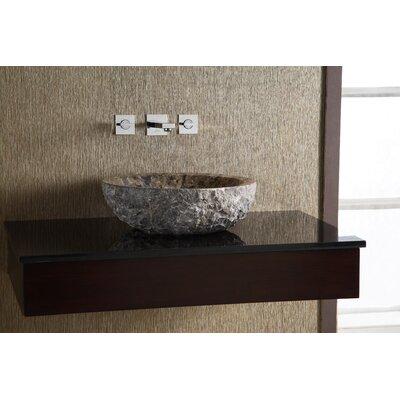 Ryvyr Round Marble Vessel Bathroom Sink with Rough Exterior