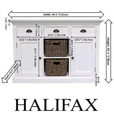 Infinita Corporation Halifax 3 Drawer Buffet Dresser with 2 Rattan Baskets