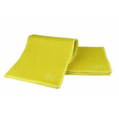 "MU Kitchen MUmodern Waffle 12"" x 12"" Microfiber Dish Cloth in Lemon (Set of 3)"
