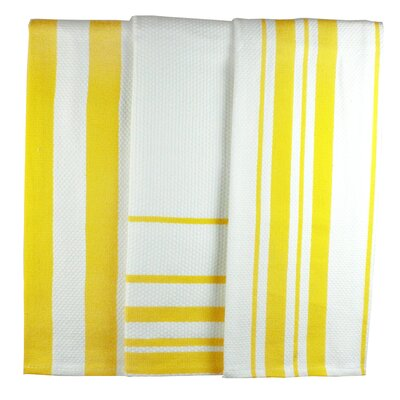 MU Kitchen MUincotton Dish Towel in Lemon Stripe (Set of 3)