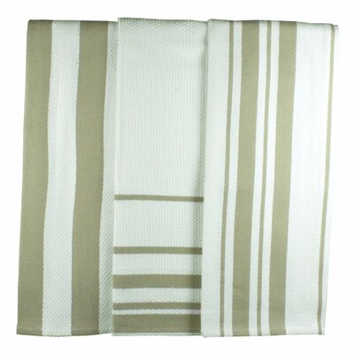 MU Kitchen MUincotton Dish Towel in Sand Stripe (Set of 3)
