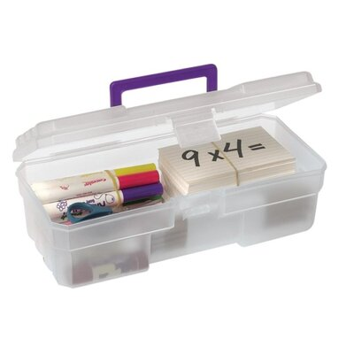 "Akro-Mils Supply Box, 6""x12""x4"", Plastic, Clear/Purple"