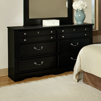 Madera with Marble Top 6 Drawer Dresser
