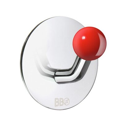 Smedbo Beslagsboden Single Hook with Red Knob in Polished Stainless Steel