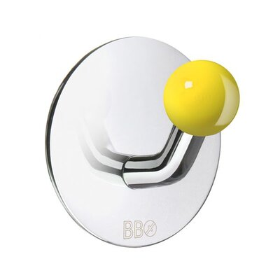Smedbo Beslagsboden Single Hook with Yellow Knob in Polished Stainless Steel