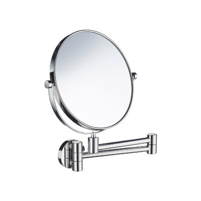 Outline Five-Time Magnifying Shaving / Makeup Mirror with Swivel Arm in Polished Chrome