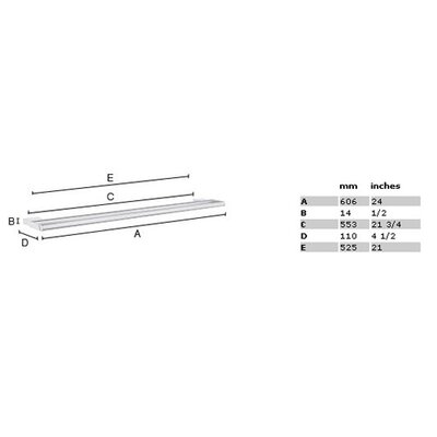 "Smedbo Air 2.4"" Double Towel Bar in Polished Chrome"