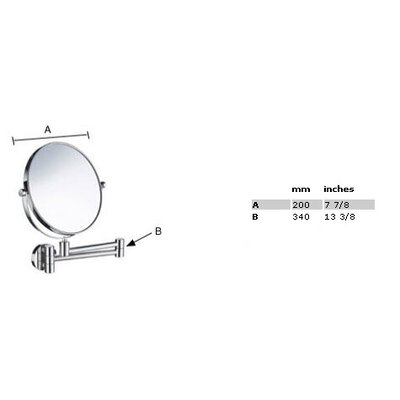 Smedbo Outline Five-Time Magnifying Shaving / Makeup Mirror with Swivel Arm in Polished Chrome