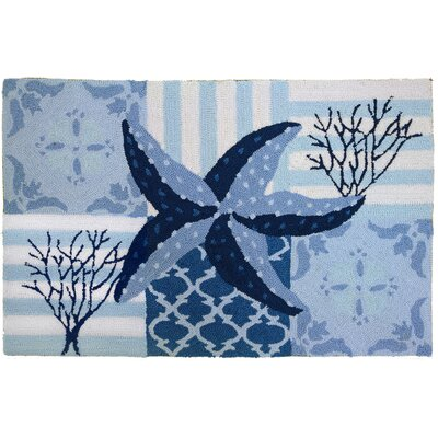 Homefires Starfish and Coral On Blue Rug