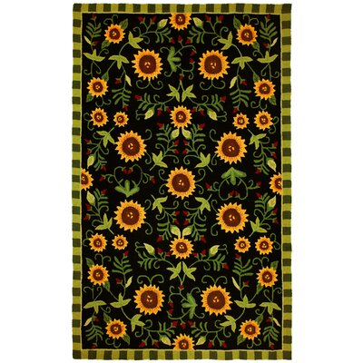 Homefires Sunflowers On Black Rug
