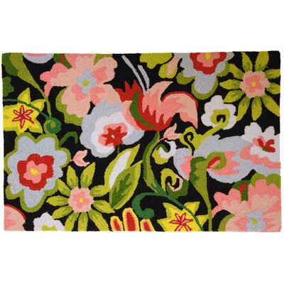 Homefires Watercolor Flowers On Black Rug