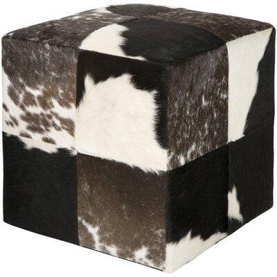 Surya Pouf Leather Cube Ottoman