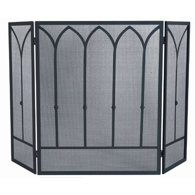 3 Fold Black Wrought Iron Screen with Catherdral Bars