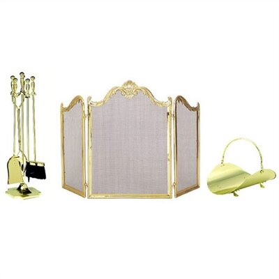 Uniflame Corporation Polished Brass Fireplace Accessory Set