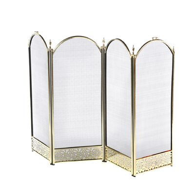 <strong>Uniflame Corporation</strong> Brass Fireplace Screen with Decorative Filigree