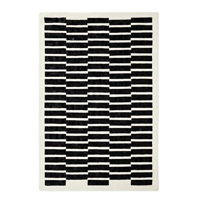 Leather Work Ivory/Black Rug
