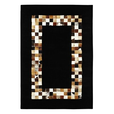 Dynamic Rugs Leather Work Black Rug