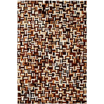 Leather Work Brown Multi Checked Rug