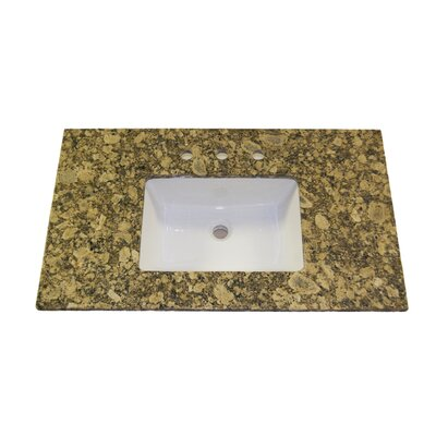 "Vintage Stone 22"" x 43"" Granite Vanity Top with 8"" Centers and Rectangular Bowl in Giallo Fiorita"